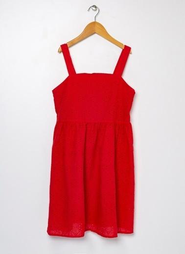 Koton Koton Belden Oturtmalı Kalın Askılı Elbise Kırmızı